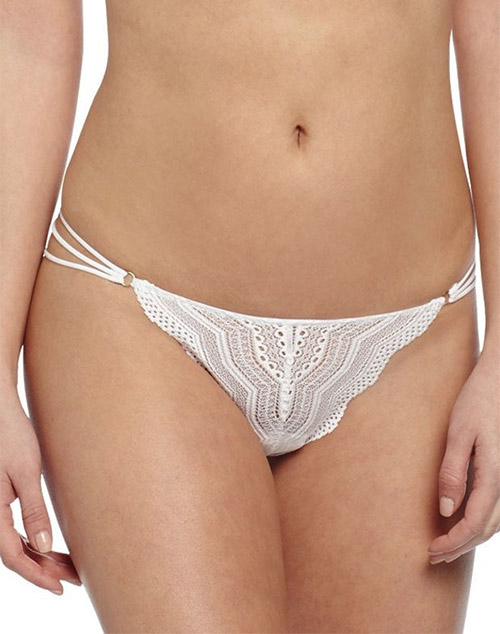 Cosabella Ceylon Lowrider Lace Thong in White