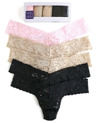 Hanky Panky 5-Pack Low Rise Thong Panties, Colors: Basics 2 Black, 2 Chai, 1 Bliss Pink