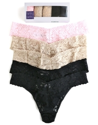 Hanky Panky 5-Pack Original Rise Thong, Basics (2 Black, 2 Chai, 1 Bliss Pink)