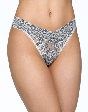 Hanky Panky Cross-Dyed Original Rise Thong in Ivory/Coal