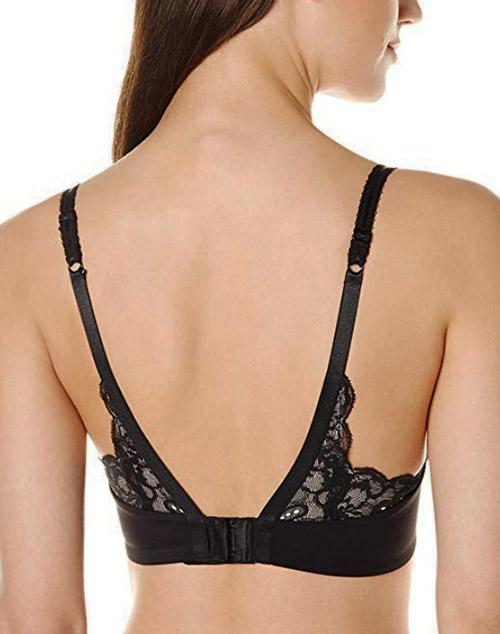 550aa935e5c ... e Mystere Sophia Lace T-Back Convertible Bra in Black, Back View ...