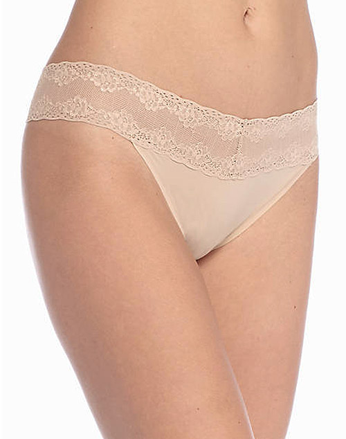 Natori Bliss 3-Pack Perfection Lace-Trim Thong in Cafe