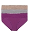 Natori Bliss 3-Pack Perfection Lace-Trim V-kini in Cafe, Lead and Bright Plum