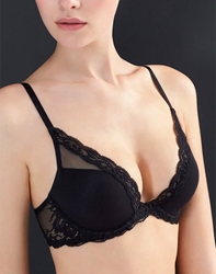 Natori Feathers Basics Underwire Contour Plunge Bra in Black