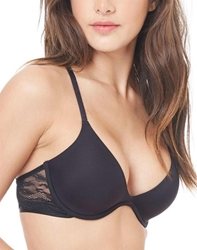 OnGossamer Beautifully Basic Lace Back Plunge Bra in Black