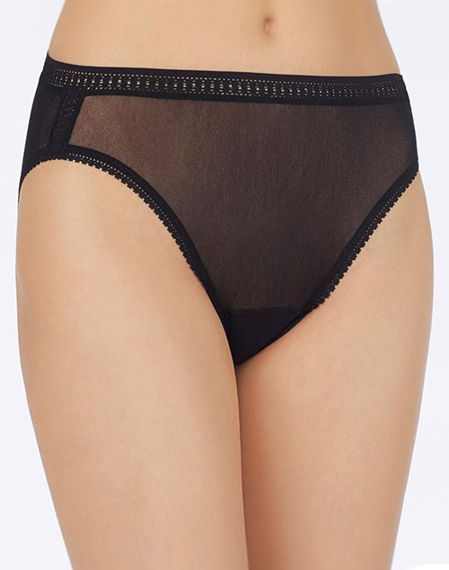 OnGossamer Gossamer Mesh Hi-Cut Brief in Black